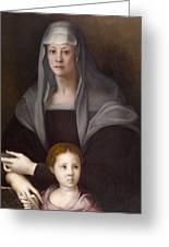 Portrait Of Maria Salviati De' Medici With Giulia De' Medici Greeting Card
