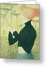 Portrait Of Sarah Bernhardt Greeting Card by Manuel Orazi