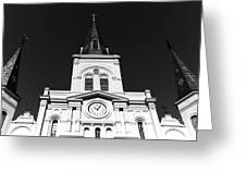 Portrait Of St. Louis Cathedral Mono Greeting Card