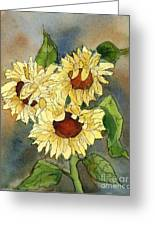 Portrait Of Sunflowers Greeting Card