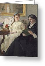 Portrait Of The Artist S Mother And Sister Greeting Card