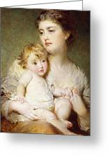 Portrait Of The Duchess Of St Albans With Her Son Greeting Card
