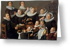 Portrait Of The Painter Andries Van Bochoven And His Family Greeting Card