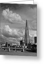 Portrait Of The Shard Black And White Version Greeting Card