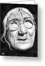 Portrait Very Old Woman Greeting Card