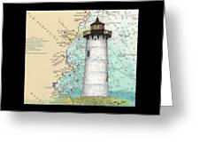Portsmouth Harbor Lighthouse Nh Nautical Chart Map Art Greeting Card