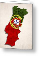 Portugal Map Art With Flag Design Greeting Card