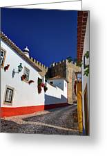 Portugal, Obidos, Street Of The Old Greeting Card