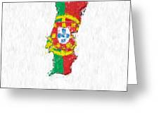 Portugal Painted Flag Map Greeting Card