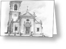 Portugese Church Pencil Portrait Greeting Card