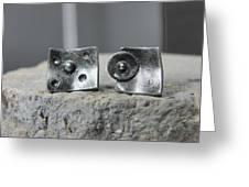 Post Stud Silver Unisex Earrings Greeting Card