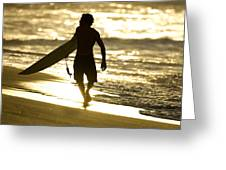 Post Surf Gold Greeting Card