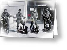 Postal Workers On Scooters Greeting Card