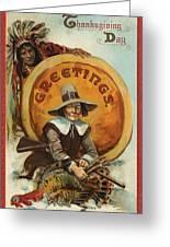 Postcard Of Pilgrim Plucking A Turkey Greeting Card by American School