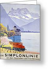 Poster Advertising Rail Travel Around Lake Geneva Greeting Card