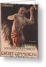 Poster Advertising The French National Loan Greeting Card by B Chavannaz