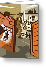 Poster Illustration Of An Outlaw Cowboy Greeting Card