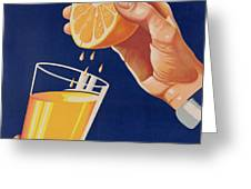 Poster With A Glass Of Orange Juice Greeting Card