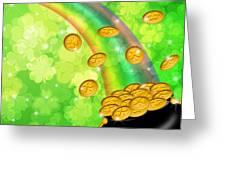 Pot Of Gold Shamrock Blurred Background Greeting Card