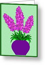 Pot Of Pink Flowers Greeting Card