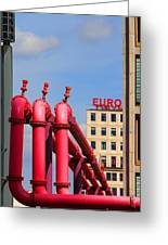 Potsdamer Platz Pink Pipes In Berlin Greeting Card