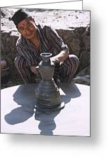Potter At Work In Bhaktapur Greeting Card