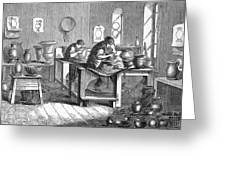 Potters Working With The Wheel Greeting Card