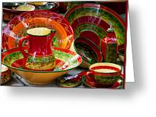 Pottery For Sale At A Market Stall Greeting Card