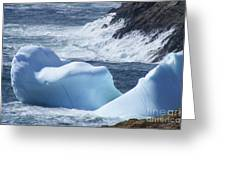 Pounding Surf With Icebergs Greeting Card