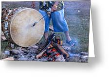 Pow Wow 58 Tuning The Drum Greeting Card