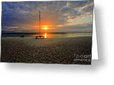 powder-white sand of Seven Mile Beach Greeting Card