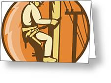 Power Lineman Electrician Climbing Utility Post Greeting Card