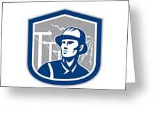 Power Lineman Repairman Shield Retro Greeting Card by Aloysius Patrimonio