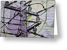 Power Lines On Map Greeting Card