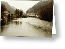 Power Plant On River Greeting Card