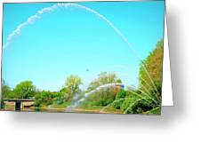 Powerful Fountain On The Thames River Greeting Card