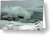 Powerful Winter Surf Greeting Card