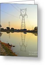Powerline And Pylons Greeting Card