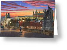 Prague At Dusk Greeting Card