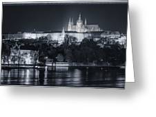 Prague Castle At Night Greeting Card