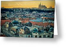 Prague Castle Sunset Greeting Card by Joan Carroll