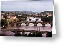 Prague Cityscape - Texture Greeting Card