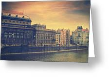 Prague Days Greeting Card by Taylan Apukovska