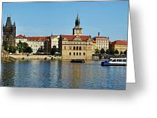 Prague East And Charles Bridge Greeting Card