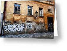 Prague Graffiti Scene Greeting Card by John Rizzuto
