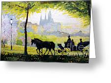 Prague Midday Walk In The Petrin Gardens Greeting Card