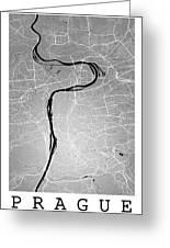 Prague Street Map - Prague Czech Republic Road Map Art On Colore Greeting Card
