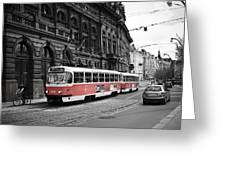 Prague Tram Vintage Greeting Card