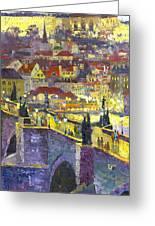 Prague Violet Panorama Night Light Charles Bridge Greeting Card by Yuriy Shevchuk