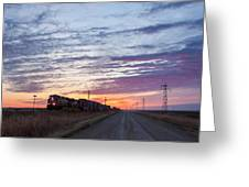 Prairie Sunrise With Train Greeting Card
